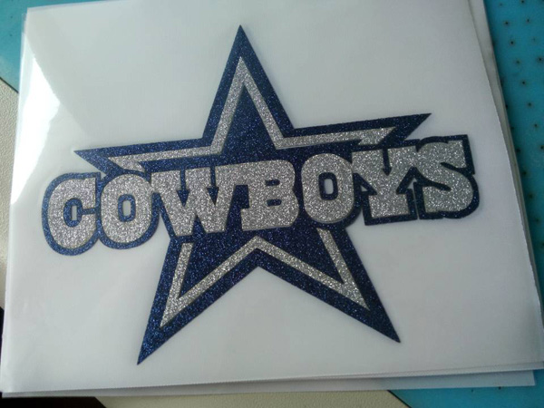 DALLAS COWBOYS STAR Logo Iron On Vinyl Or Glitter Heat Transfer
