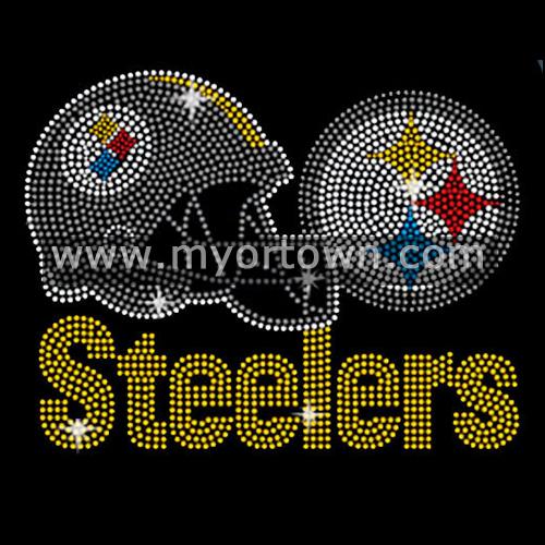 Pittsburgh Steelers Helmet And Logo Rhinestone Steelers