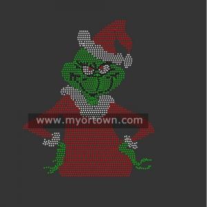 Santa Grinch Christmas Rhinestone Iron On Transfer Hot Fix