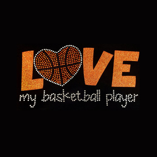 Glitter Vinyl Rhinestone Iron On Love My Basketball Player