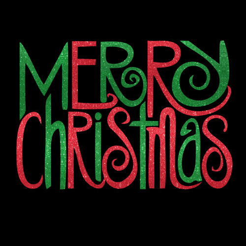 Custom Merry Christmas Holiday Glitter Iron On Heat Transfer