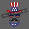 Glitter Hot Fix Design Man With Beard New Arrival for 4th of July Wholesale 30pcs/lot