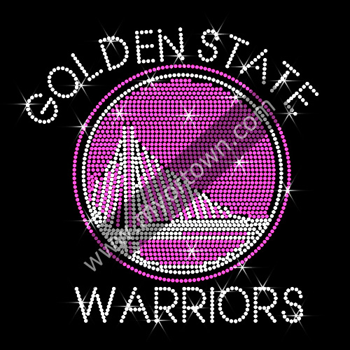 Hot Pink Rhinestone Golden State Warriors Hotfix Transfer