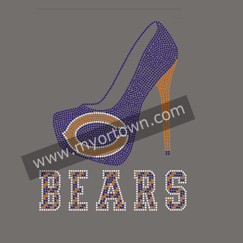 Chicago Bears High Heels Shoes Iron On Rhinestone Transfer