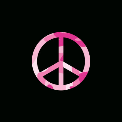 Peace Sign Pink Camo Camouflage Iron on heat Transfer Design