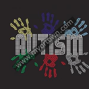 Wholesale Autism Rhinestone Transfer Iron On Motifs