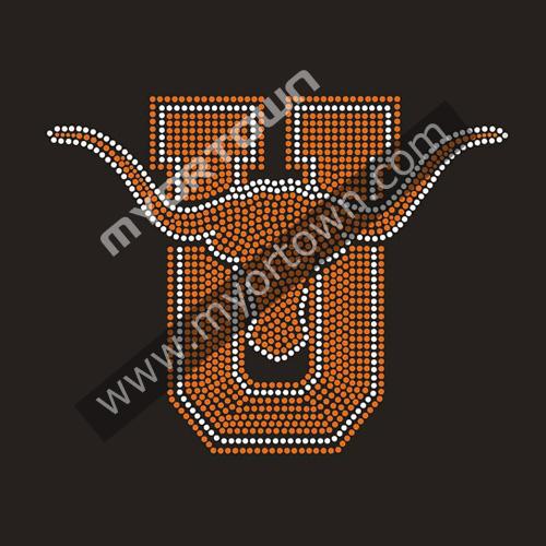 Wholesale Texas Longhorn Rhinestone Transfer Iron On Motifs