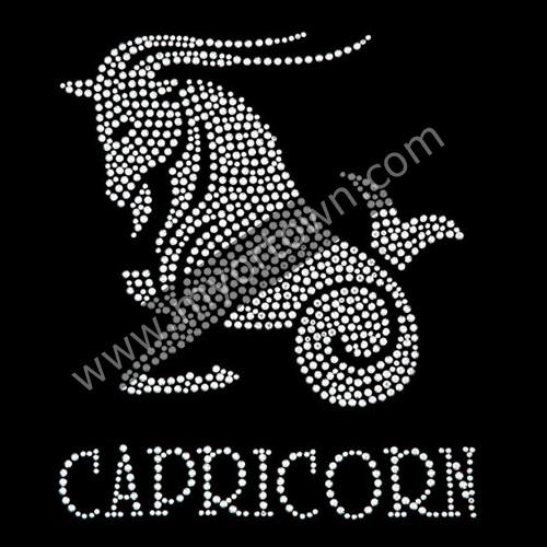 Zodiac Capricorn Iron On Rhinestone Transfer