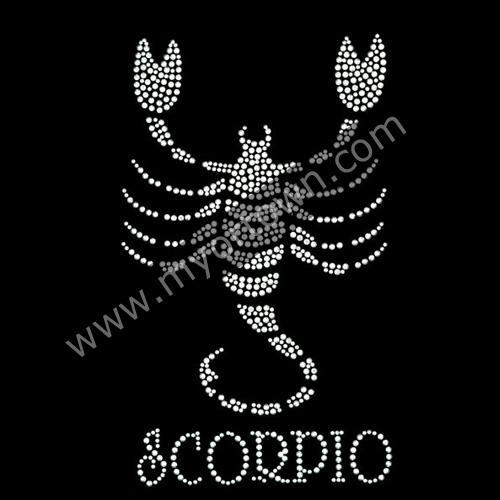 Zodiac Scorpio Iron On Rhinestone Transfer