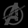 Avengers Logo Rhinestone Iron On Transfer Hot Fix Bling 30pcs/lot