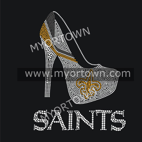 Nfl New Orleans Saints Heel Iron On Rhinestone Heat Transfer