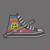 Emoji shoes Rhinestone Iron On Heat Transfe 30pcs/lot