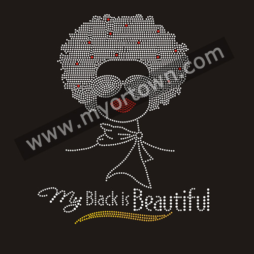 My Black Is Beautiful Afro Girl Rhinestone Iron On Heat