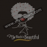 My Black Is Beautiful Afro girl Rhinestone Iron On Heat Transfe 30pcs/lot