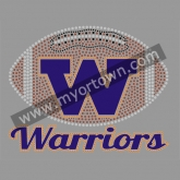 Warriors Football Rhinestone Iron On Heat Transfe 30pcs/lot