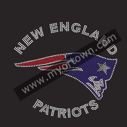 New England Patriots Football Rhinestone Iron On Heat Transfer