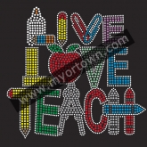 Custom LIVE LOVE TEACH Rhinestone Iron On Heat Transfe 30pcs/lot