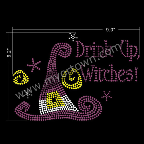 Halloween Drink Up Witches Rhinestones Iron On Heat