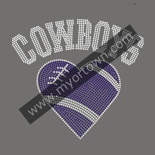 Cowboys Football Heart Iron On Rhinestone Transfer Designs