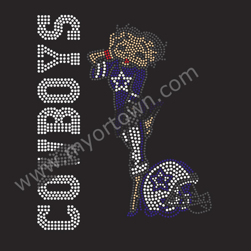 Dallas Cowboys Helmet Amp Girl Iron On Rhinestone Transfer Decal