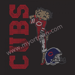 Chicago Cubs Helmet Baseball Iron On Rhinestone Transfer Decal