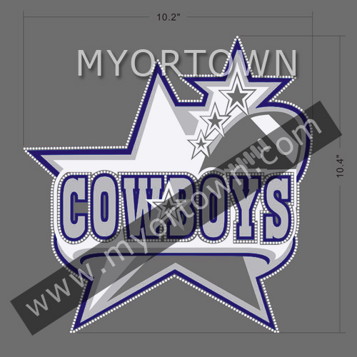 Custom Hot Sales Dallas Cowboys Heart Rhinestone Glitter