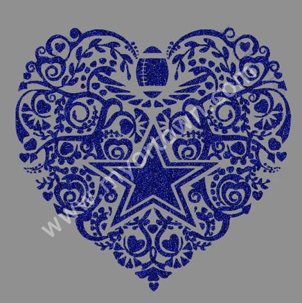 Football Dallas Cowboys Heart Glittering Iron On