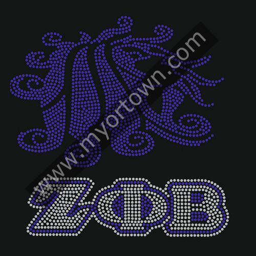 Zeta Phi Beta Hotfix Korean Rhinestone&Glitter Material Iron