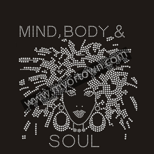 Mind Body and Soul Afro Lady Rhinestone Transfer Motif Iron on Hot