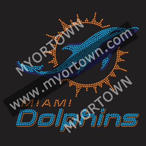 huge selection of 51e15 60802 Miami Dolphins Iron On Rhinestone Design Bling