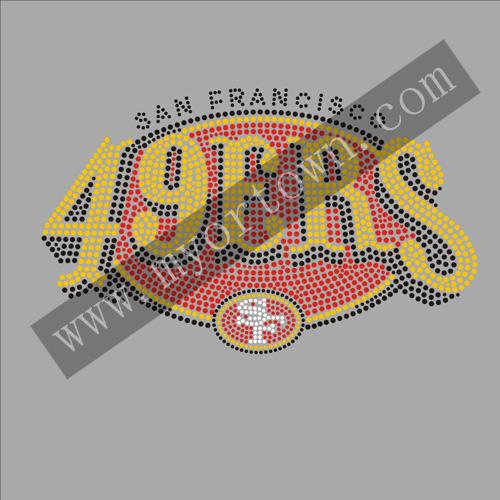 49ers Iron-on Glitter Vinyl /& Rhinestone Transfer